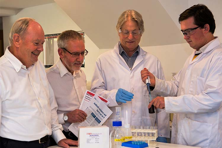 L-R: Bruce Savage CEO of GFC Diagnostics, Graham Cope, technical director, Graham Mock, DNA specialist and Alex Savage, scientist